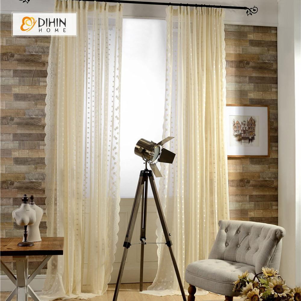 DIHINHOME Home Textile Sheer Curtain DIHIN HOME Beige Lace Sheer Curtain ,Day Curtains Grommet Window Curtain for Living Room ,52x63-inch,1 Panel
