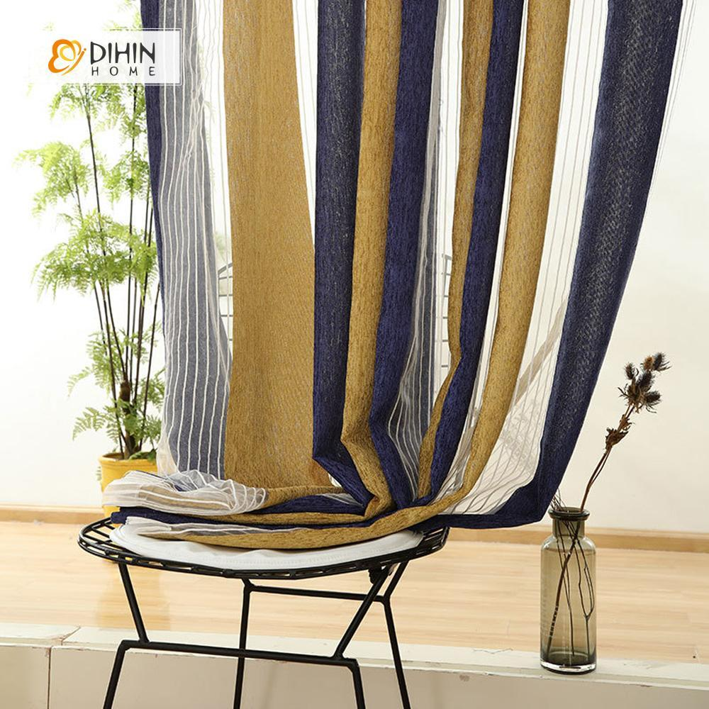DIHINHOME Home Textile Sheer Curtain DIHIN HOME Blue and Yellow,Sheer Curtain,Blackout Grommet Window Curtain for Living Room ,52x63-inch,1 Panel