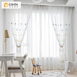 DIHINHOME Home Textile Sheer Curtain DIHIN HOME Cartoon Balls Embroidered,Sheer Curtain,Grommet Window Curtain for Living Room ,52x63-inch,1 Panel