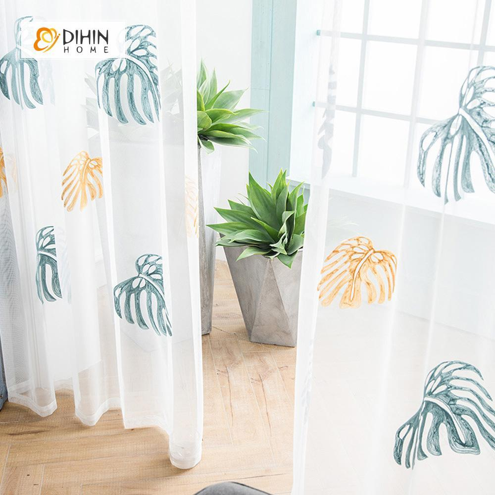 DIHINHOME Home Textile Sheer Curtain DIHIN HOME  Cotton Linen Embroidered Banana Tree ,Sheer Curtain, Grommet Window Curtain for Living Room ,52x63-inch,1 Panel