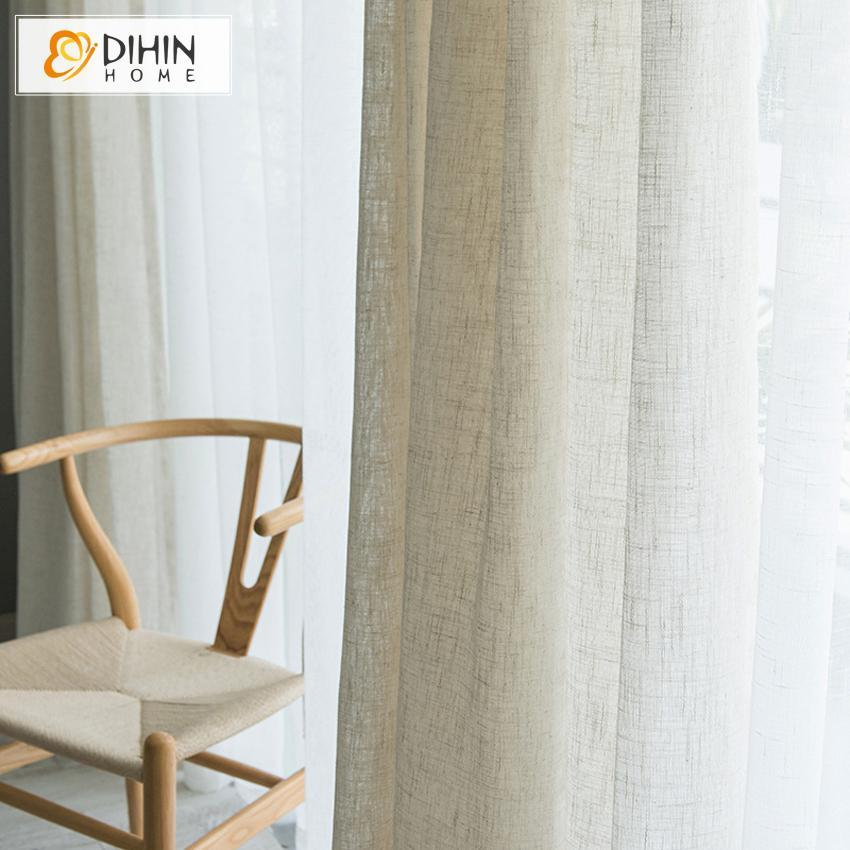 DIHINHOME Home Textile Sheer Curtain DIHIN HOME  Cotton Linen Fabric ,Sheer Curtain, Grommet Window Curtain for Living Room ,52x63-inch,1 Panel
