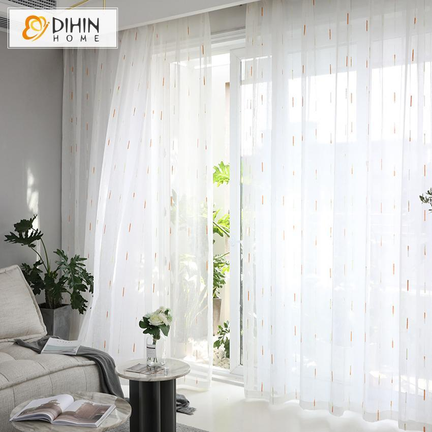 DIHINHOME Home Textile Sheer Curtain DIHIN HOME  Cotton Linen Meteor Shower Shape ,Sheer Curtain, Grommet Window Curtain for Living Room ,52x63-inch,1 Panel