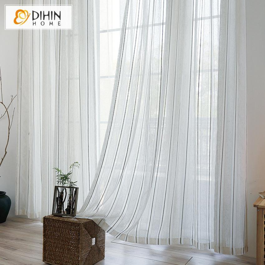DIHINHOME Home Textile Sheer Curtain DIHIN HOME  Cotton Linen Simple Stripes ,Sheer Curtain, Grommet Window Curtain for Living Room ,52x63-inch,1 Panel