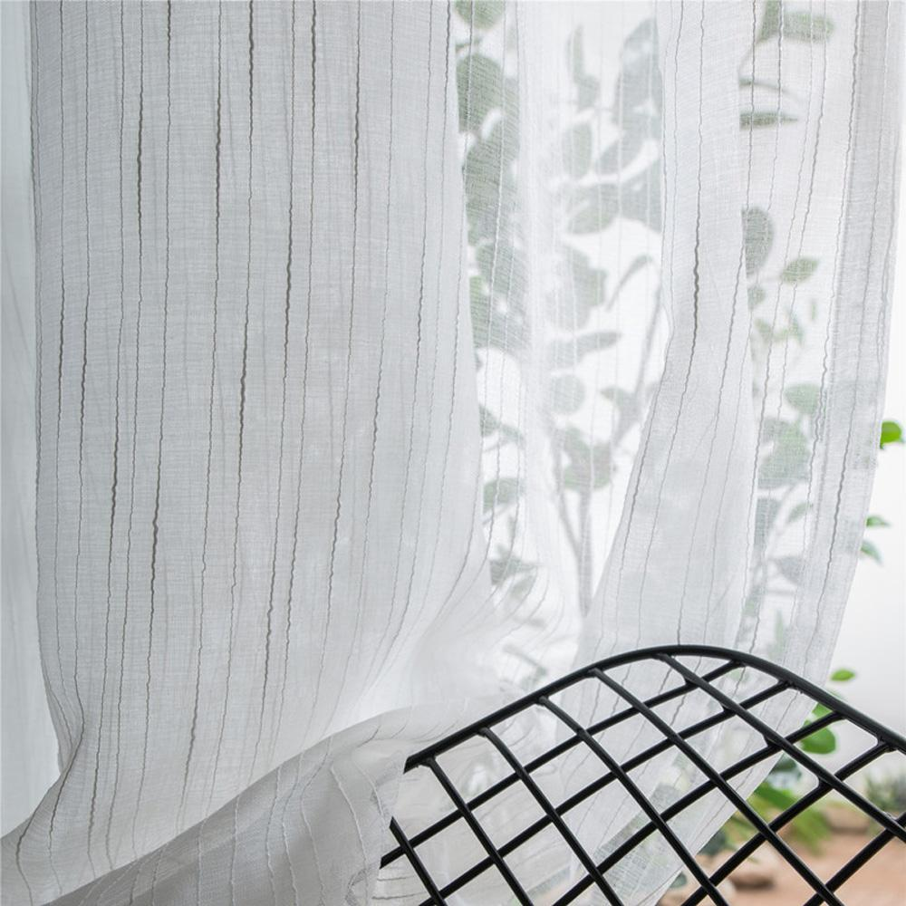 DIHINHOME Home Textile Sheer Curtain DIHIN HOME  Cotton Linen White Stripes ,Sheer Curtain, Grommet Window Curtain for Living Room ,52x63-inch,1 Panel