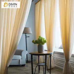 DIHINHOME Home Textile Sheer Curtain DIHIN HOME Elegant Solid Yellow Printed Sheer Curtain,Blackout Grommet Window Curtain for Living Room ,52x63-inch,1 Panel