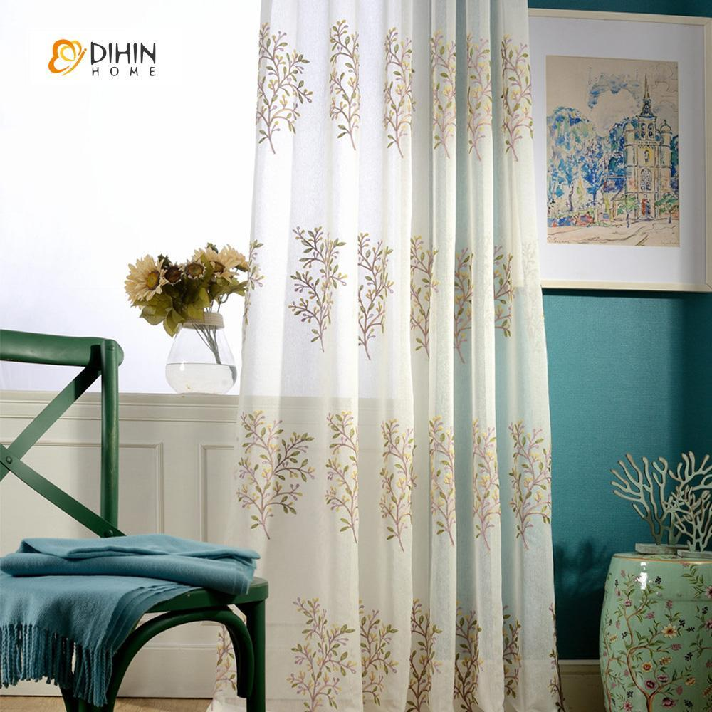 DIHINHOME Home Textile Sheer Curtain DIHIN HOME Embroidered Sheer Curtains ,Cotton Linen ,Day Curtain Grommet Window Curtain for Living Room ,52x63-inch,1 Panel