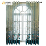 DIHINHOME Home Textile Sheer Curtain DIHIN HOME European Luxury Blue Embroidered Sheer Curtain, Grommet Window Curtain for Living Room ,52x63-inch,1 Panel