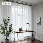 DIHINHOME Home Textile Sheer Curtain DIHIN HOME Fascinating White Embroidered,Sheer Curtain,Blackout Grommet Window Curtain for Living Room ,52x63-inch,1 Panel