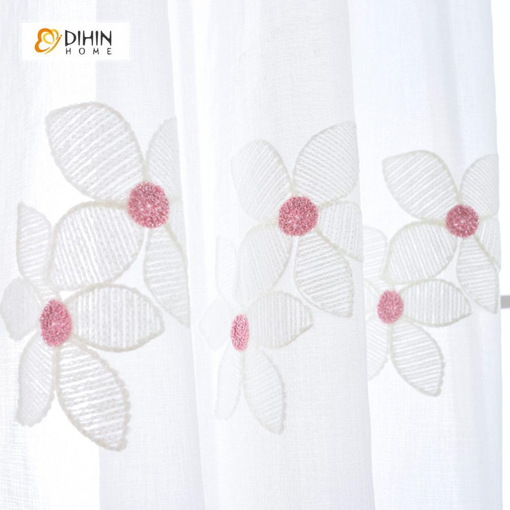 DIHINHOME Home Textile Sheer Curtain DIHIN HOME Flower Sheer Curtain ,Day Curtains Grommet Window Curtain for Living Room ,52x63-inch,1 Panel