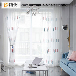 DIHINHOME Home Textile Sheer Curtain DIHIN HOME Garden Embroidery Window Screening ,Sheer Curtain, Grommet Window Curtain for Living Room ,52x63-inch,1 Panel
