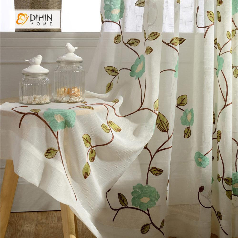 DIHINHOME Home Textile Sheer Curtain DIHIN HOME Green Flower Embroidered Sheer Curtains ,Cotton Linen ,Day Curtain Grommet Window Curtain for Living Room ,52x63-inch,1 Panel