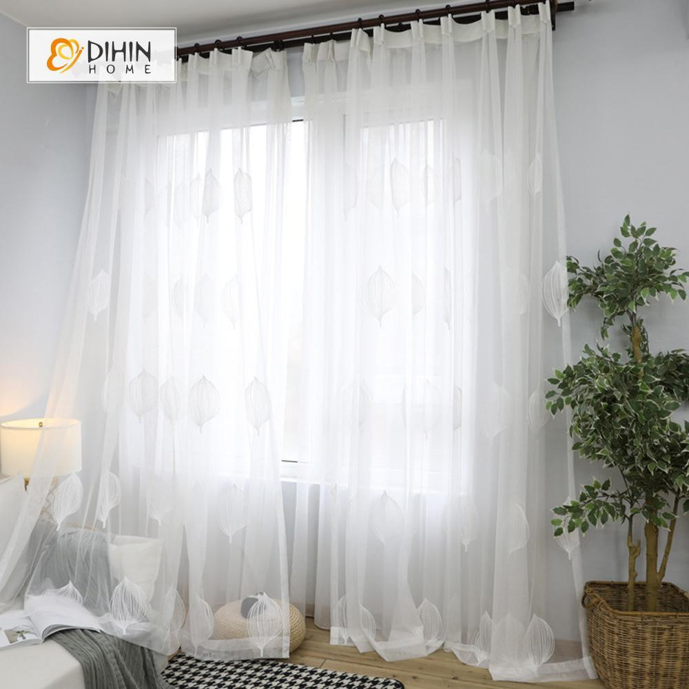 DIHIN HOME  Hazy Leaves Embroidered ,Sheer Curtain,Blackout Grommet Window Curtain for Living Room ,52x63-inch,1 Panel