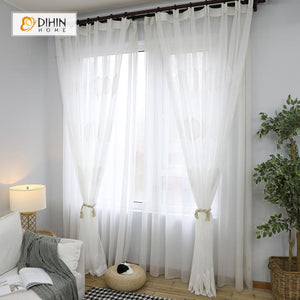 DIHINHOME Home Textile Sheer Curtain DIHIN HOME  Hazy Leaves Embroidered ,Sheer Curtain,Blackout Grommet Window Curtain for Living Room ,52x63-inch,1 Panel