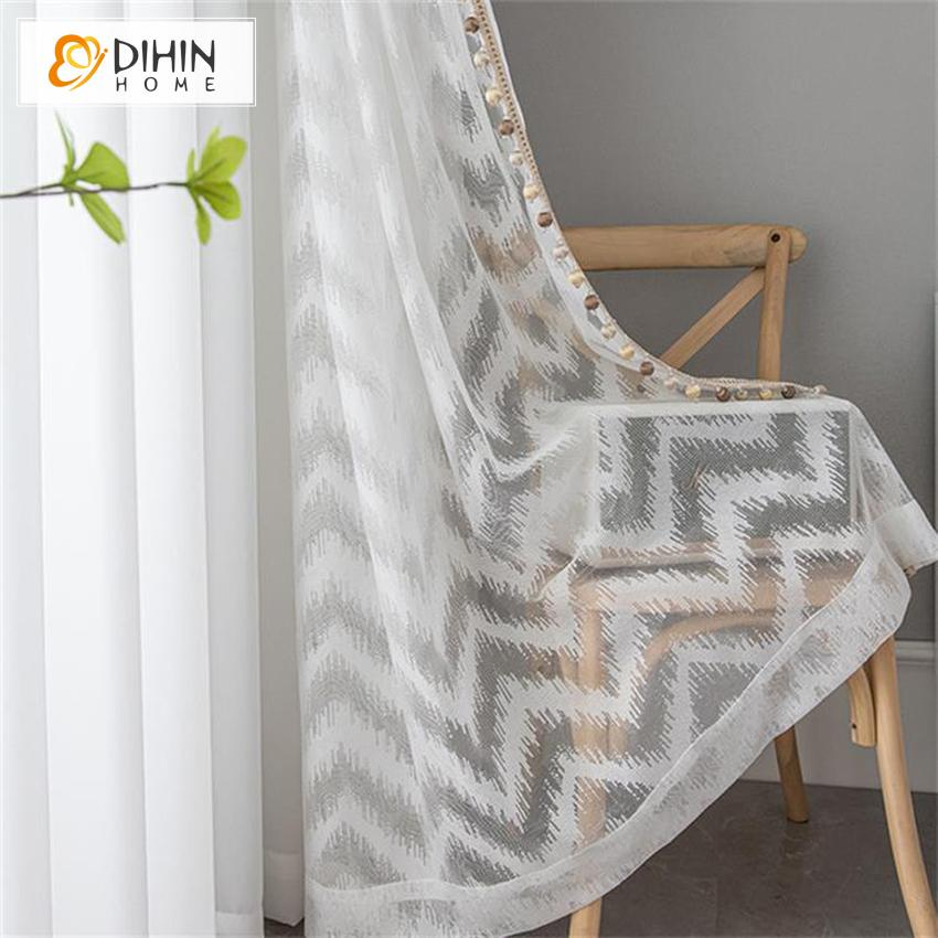 DIHINHOME Home Textile Sheer Curtain DIHIN HOME Modern Fashion White Waves Pattern,Sheer Curtain,Grommet Window Curtain for Living Room ,52x63-inch,1 Panel