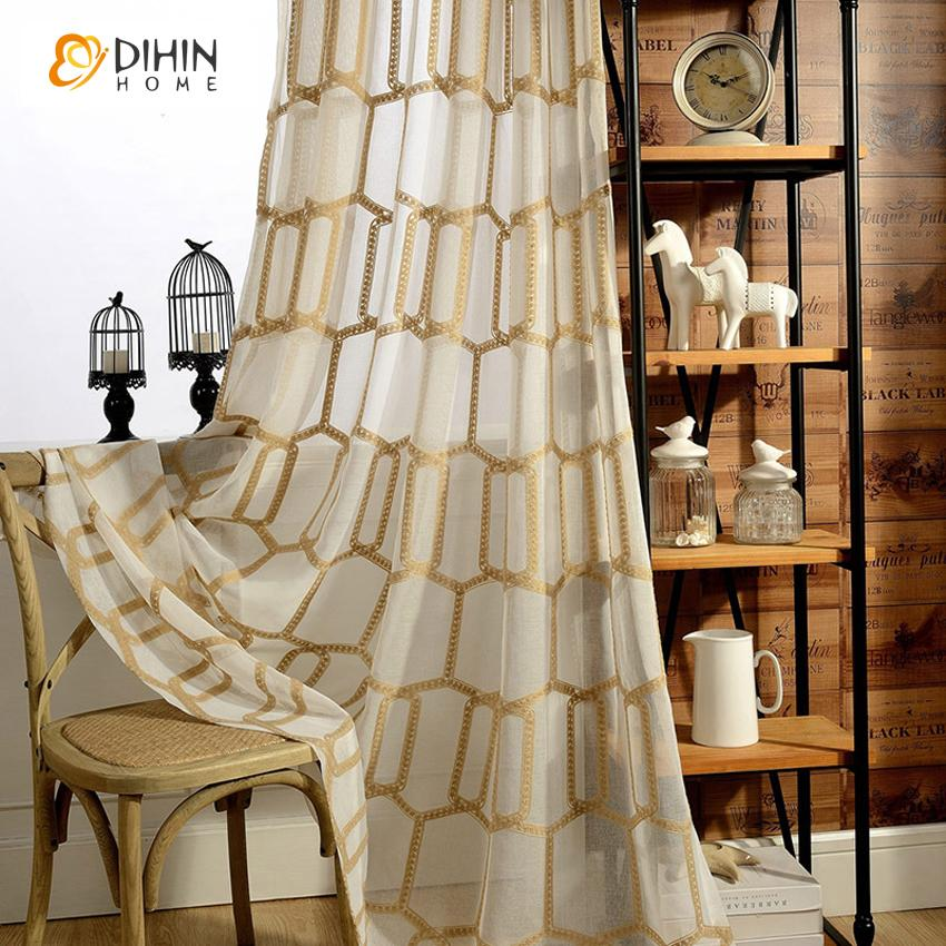 DIHINHOME Home Textile Sheer Curtain DIHIN HOME Modern Geometry Cotton Lineng Sheer Curtain,Grommet Window Curtain for Living Room ,52x63-inch,1 Panel