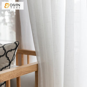 DIHINHOME Home Textile Sheer Curtain DIHIN HOME Modern White Day Curtain ,Sheer Curtain, Grommet Window Curtain for Living Room ,52x63-inch,1 Panel