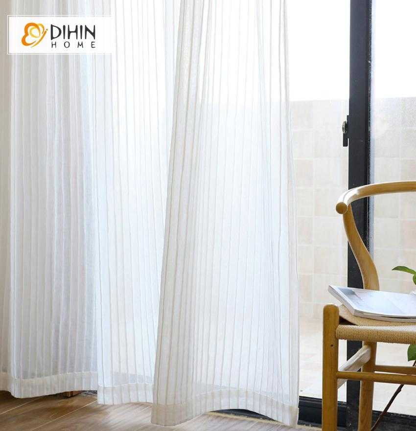 DIHINHOME Home Textile Sheer Curtain DIHIN HOME Modern White Strips Cotton Linen Curtains ,Sheer Curtain, Grommet Window Curtain for Living Room ,52x63-inch,1 Panel