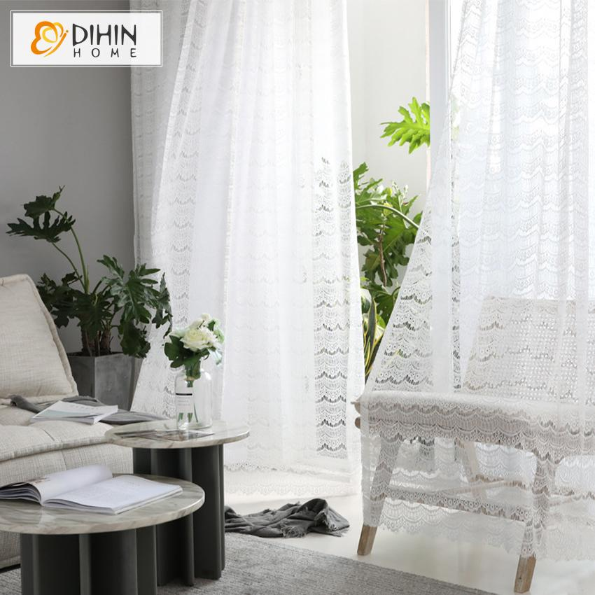 DIHINHOME Home Textile Sheer Curtain DIHIN HOME Modern White Tulle Curtain,Sheer Curtain, Grommet Window Curtain for Living Room ,52x63-inch,1 Panel