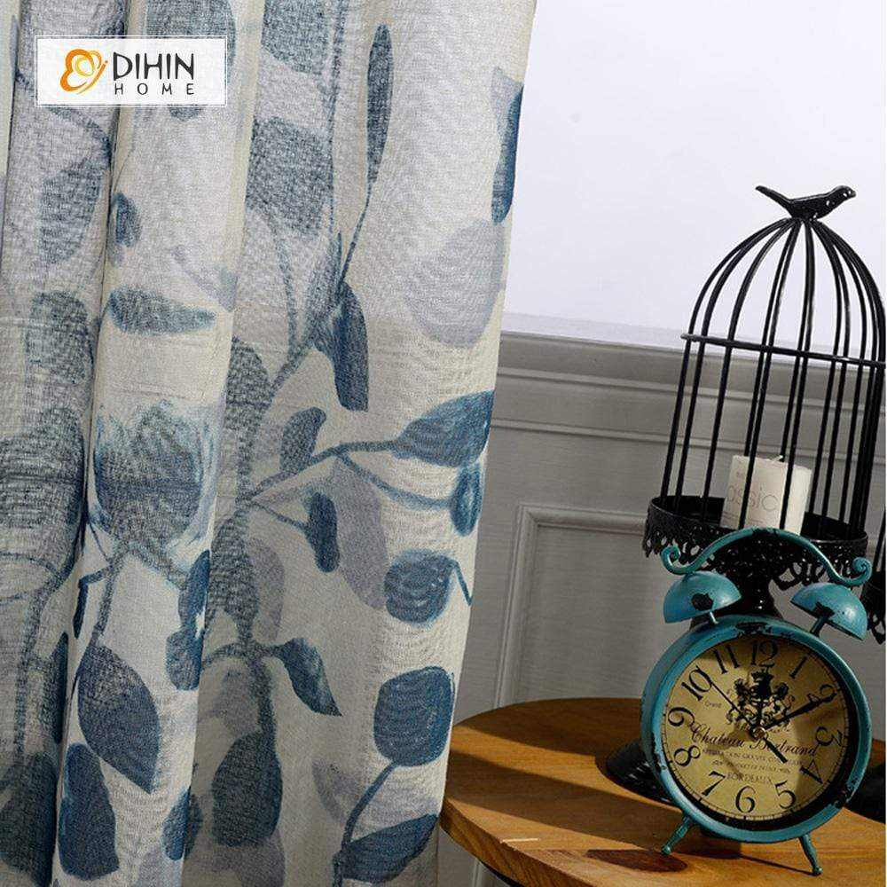 DIHINHOME Home Textile Sheer Curtain DIHIN HOME Oil Paiting Flower Sheer Curtains ,Cotton Linen ,Day Curtain Grommet Window Curtain for Living Room ,52x63-inch,1 Panel