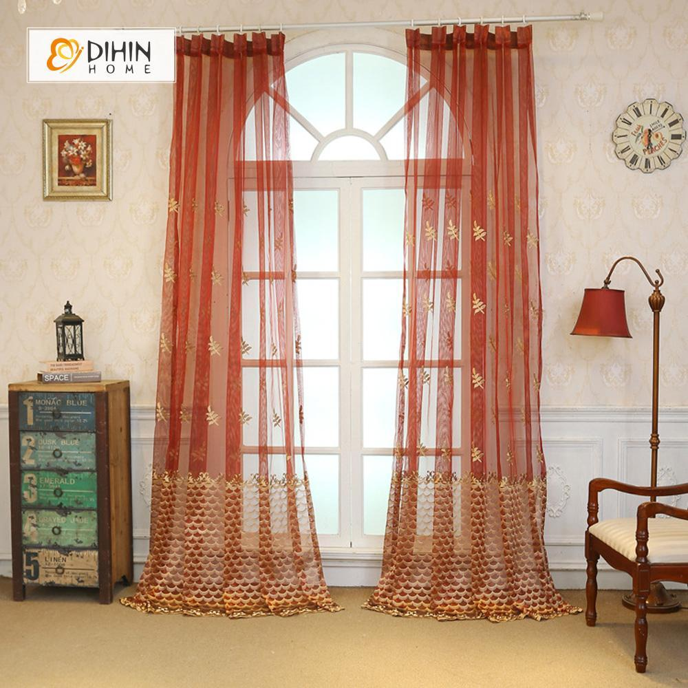 DIHINHOME Home Textile Sheer Curtain DIHIN HOME  Orange Scaly Embroidered ,Sheer Curtain,Blackout Grommet Window Curtain for Living Room ,52x63-inch,1 Panel