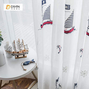 DIHINHOME Home Textile Sheer Curtain DIHIN HOME Sailboat Embroidered,Sheer Curtain,Blackout Grommet Window Curtain for Living Room ,52x63-inch,1 Panel