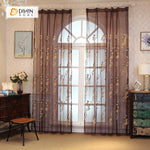 DIHINHOME Home Textile Sheer Curtain DIHIN HOME  Smoky Color Embroidered ,Sheer Curtain,Blackout Grommet Window Curtain for Living Room ,52x63-inch,1 Panel