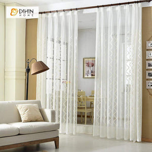 DIHINHOME Home Textile Sheer Curtain DIHIN HOME Solid White Stripes Embroidered,Sheer Curtain,Blackout Grommet Window Curtain for Living Room ,52x63-inch,1 Panel