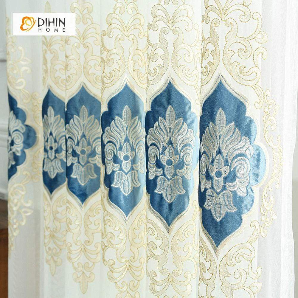 DIHINHOME Home Textile Sheer Curtain DIHIN HOME Velvet Blue Embroidered ,Sheer Curtain,Blackout Grommet Window Curtain for Living Room ,52x63-inch,1 Panel