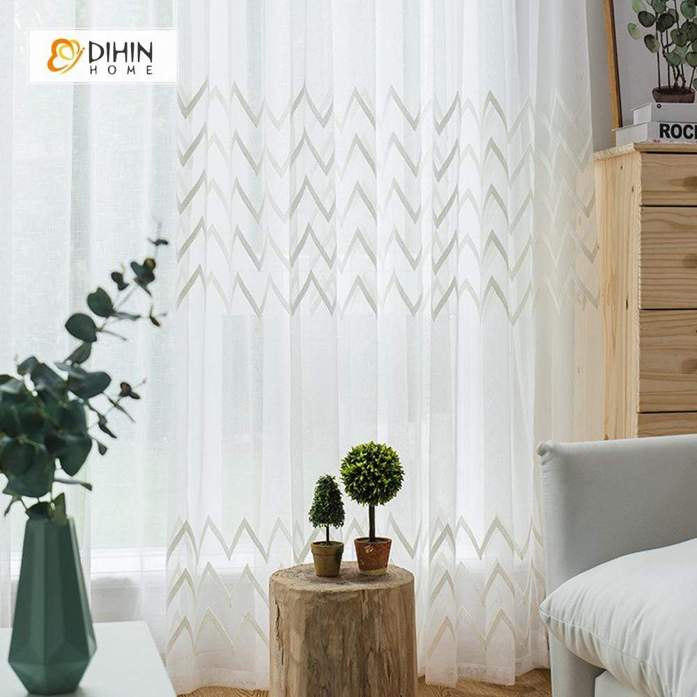 DIHINHOME Home Textile Sheer Curtain DIHIN HOME Wave Embroidered ,Sheer Curtain,Blackout Grommet Window Curtain for Living Room ,52x63-inch,1 Panel