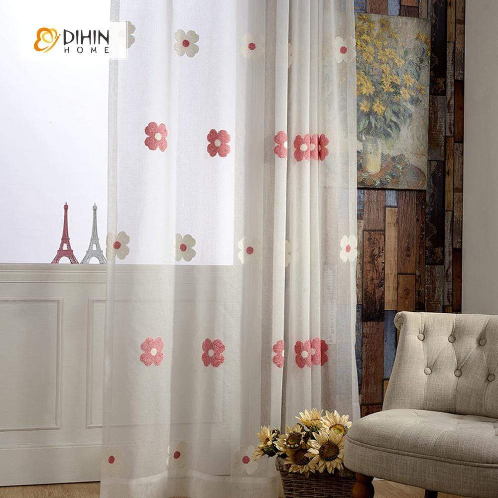 DIHINHOME Home Textile Sheer Curtain DIHIN HOME White And Red Flowers Embroidered ,Sheer Curtain,Blackout Grommet Window Curtain for Living Room ,52x63-inch,1 Panel