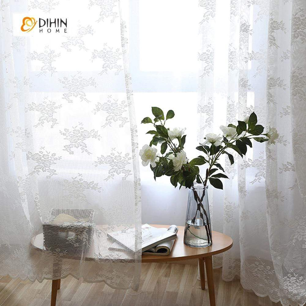 DIHINHOME Home Textile Sheer Curtain DIHIN HOME White Flower Jacquard ,Sheer Curtain,Blackout Grommet Window Curtain for Living Room ,52x63-inch,1 Panel