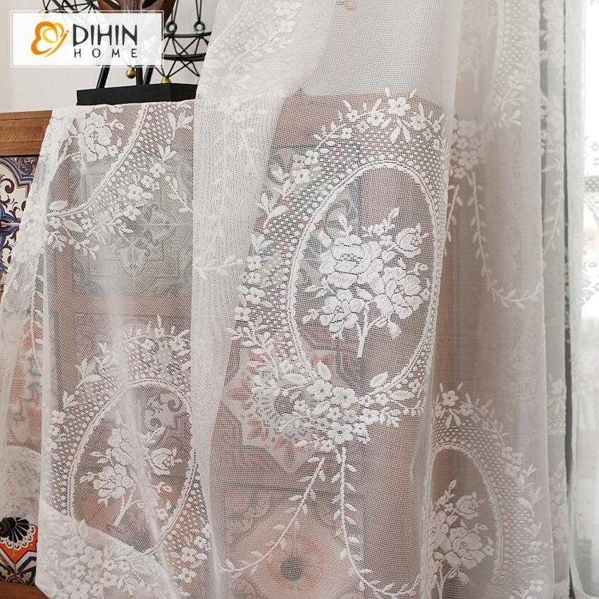 DIHINHOME Home Textile Sheer Curtain DIHIN HOME White Lace Embroidery ,Sheer Curtain, Grommet Window Curtain for Living Room ,52x63-inch,1 Panel