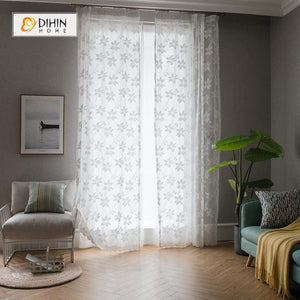 DIHINHOME Home Textile Sheer Curtain DIHIN HOME White Warp Knitting Sheer Curtains ,Cotton Linen ,Day Curtain Grommet Window Curtain for Living Room ,52x63-inch,1 Panel