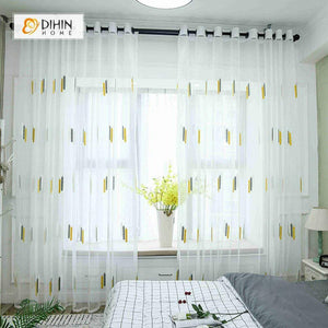 DIHINHOME Home Textile Sheer Curtain DIHIN HOME Yellow and Grey Embroidered ,Sheer Curtain,Blackout Grommet Window Curtain for Living Room ,52x63-inch,1 Panel