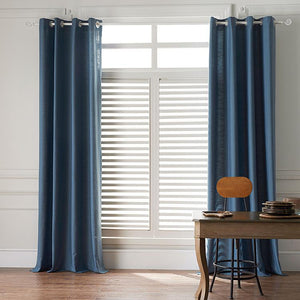 DIHINHOME Home Textile Sheer Curtain Modern Blue Color Linen Solid Sheer Curtain Window Curtains For Living Room