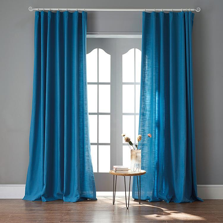 DIHINHOME Home Textile Sheer Curtain 50''WX63''L / Grommet Modern Blue Color Linen Solid Sheer Curtain Window Curtains For Living Room