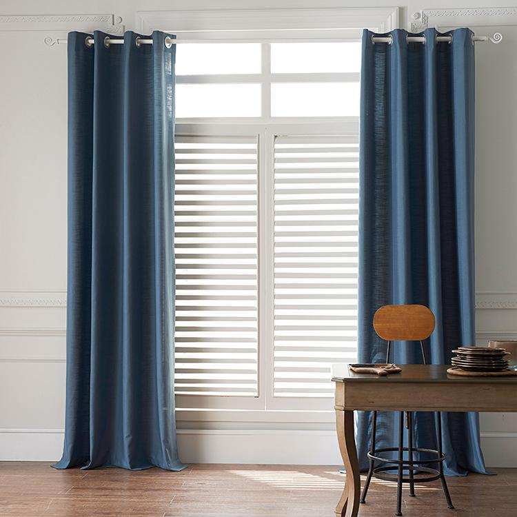 DIHINHOME Home Textile Sheer Curtain Modern Cowboy Blue Color Linen Solid Sheer Curtain Window Curtains For Living Room
