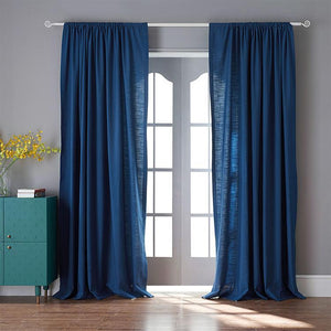 DIHINHOME Home Textile Sheer Curtain 50''WX63''L / Grommet Modern Cowboy Blue Color Linen Solid Sheer Curtain Window Curtains For Living Room