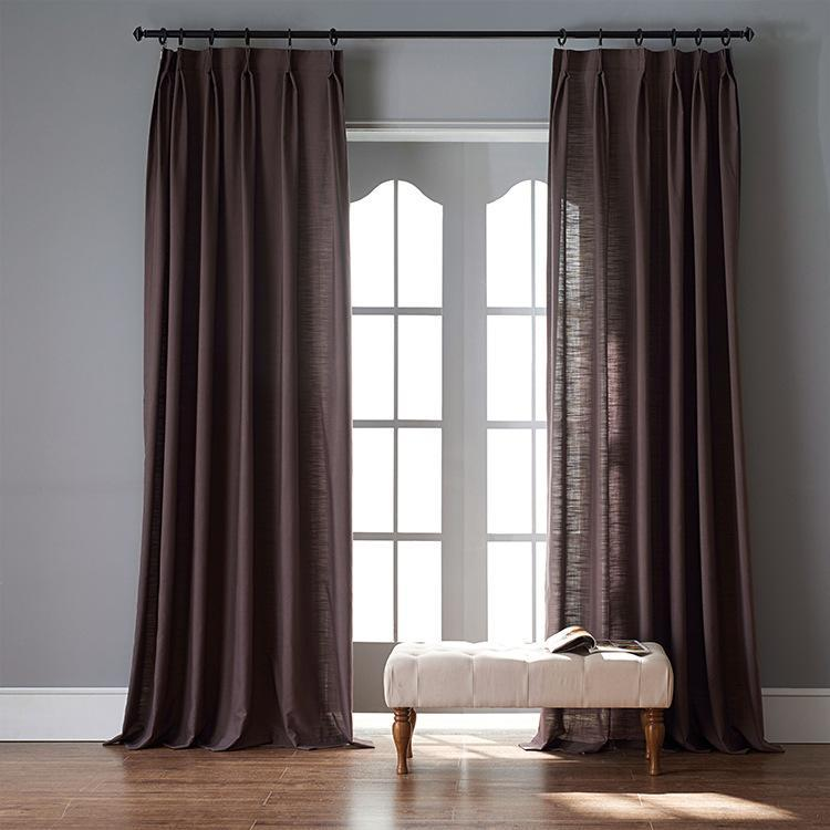 Modern Dark Brown Color Linen Solid Sheer Curtain Window