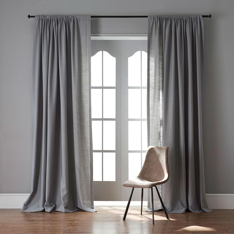 Modern Grey Color Linen Solid Sheer Curtain Window Curtains For Living Room