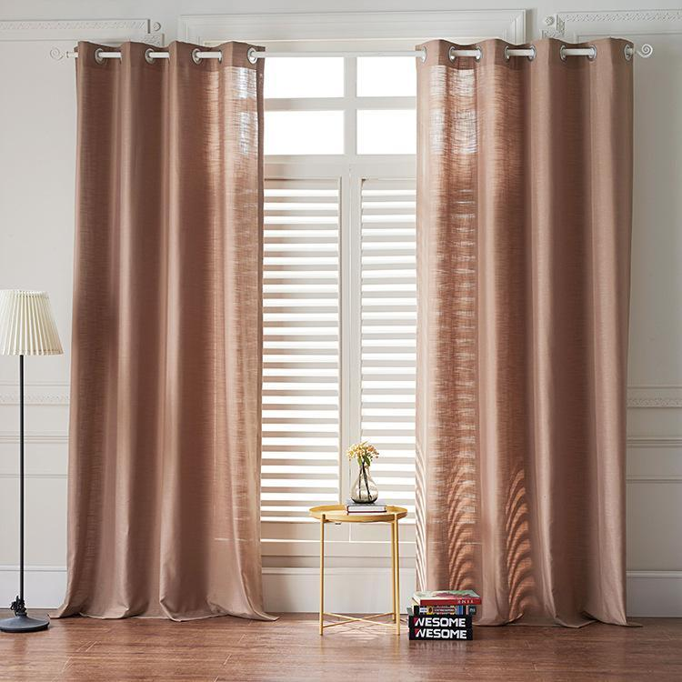 Modern Light Brown Color Linen Solid Sheer Curtain Window Curtains For  Living Room