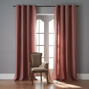 DIHINHOME Home Textile Sheer Curtain 50''WX63''L / Grommet Modern Rubber Red Color Linen Solid Sheer Curtain Window Curtains For Living Room