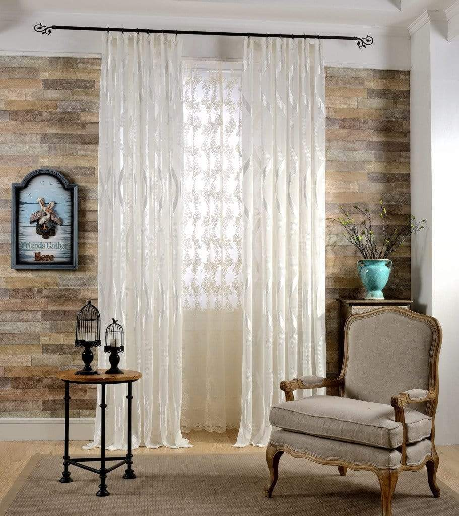 Modern White Striped Sheer Curtain Tulle Curtains Window Drapes For Living Room