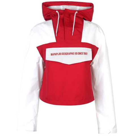 Women's NAPAPIJRI TRIBE Crop Rain forest Jacket | Red / White