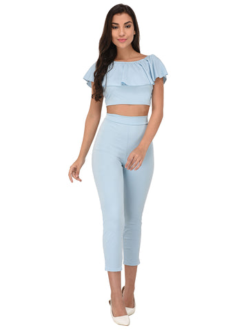 Lozanoo trendy sky blue co-ord set