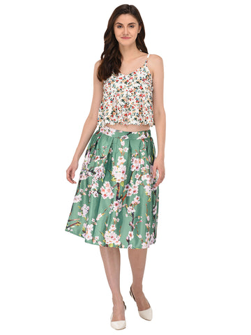 Lozanoo beautiful green floral skirt