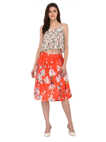 Lozanoo beautiful red floral skirt