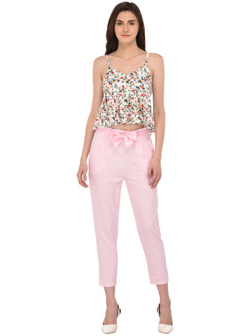 Lozanoo trendy cameo pink pant and floral top co-ord set