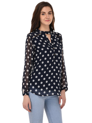 Lozanoo beautiful blue top with polka dot.