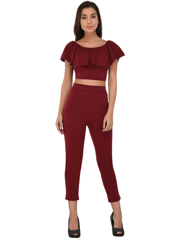 Lozanoo trendy maroon co-ord set